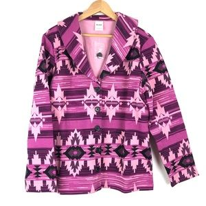 NWOT Pink & Purple Aztec Print Soft Jacket